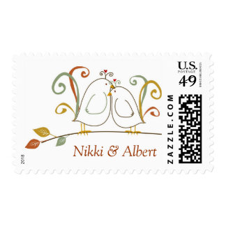 Fall Lovebirds, Save the Date Postage