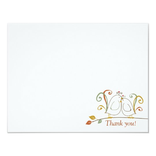 Fall Lovebirds, Thank You Notecards