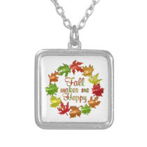 Fall Makes Me Happy Silver Plated Necklace