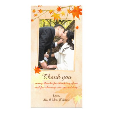 Fall Maple Elegance Wedding Thank You Photo Card
