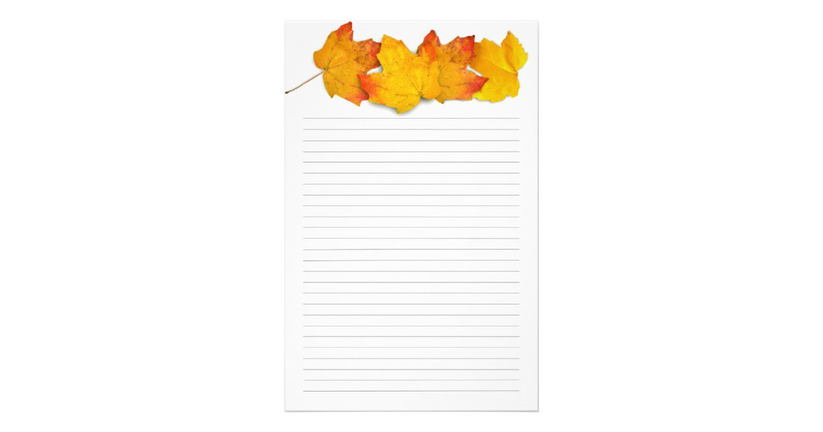 Fall Maple Leaf Border Lined Writing Paper – Lined Border Paper