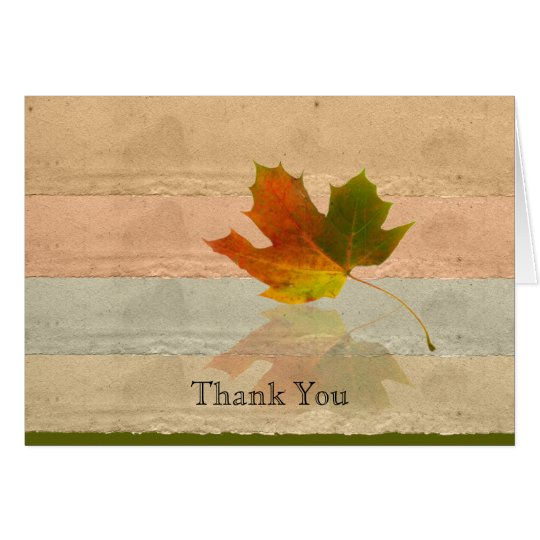 Fall Maple Leaf on Faux Handmade Paper Thank You Card