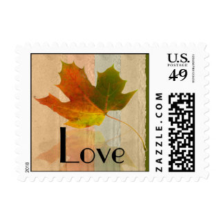 Fall Maple Leaf on Faux Paper Wedding Love Postage