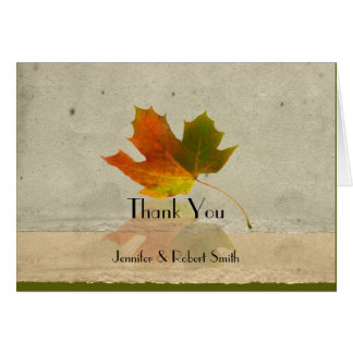 Fall Maple Leaf on Faux Paper Wedding Thank You Stationery Note Card