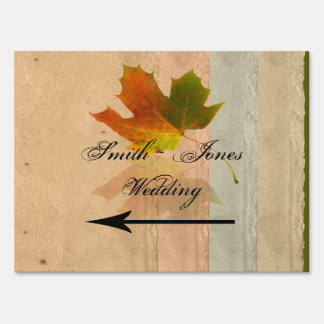 Fall Maple Leaf on Paper Wedding Direction Sign