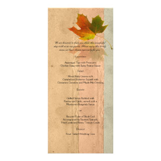 Fall Maple LEaf on Paper Wedding Menu Custom Rack Card