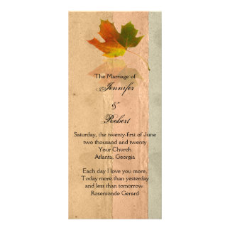 Fall Maple Leaf on Paper Wedding Program Custom Rack Cards