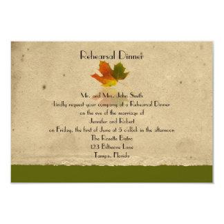Fall Maple Leaf on Paper Wedding Rehearsal Dinner 3.5x5 Paper Invitation Card