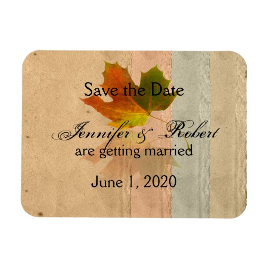 Fall Maple Leaf on Paper Wedding Save the Date Magnet