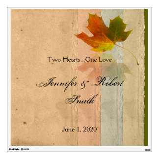 Fall Maple Leaf on Paper Wedding Wall Cling Wall Skin