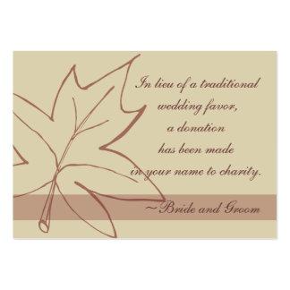 Fall Maple Leaf Wedding Charity Favor Card