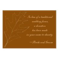 Fall Maple Leaf Wedding Charity Favor Card Business Card