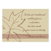 Fall Maple Leaf Wedding Charity Favor Card Business Card Templates