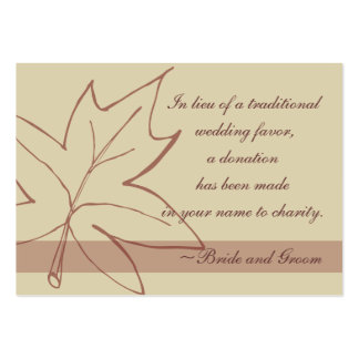 Fall Maple Leaf Wedding Charity Favor Card Large Business Cards (Pack Of 100)