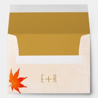Fall Maple Leaf Wedding Invitation A7 Envelopes