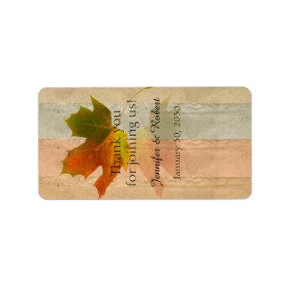 Fall Maple Leaf Wedding Lip Balm Label