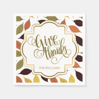 Fall Maple Leafs Vintage Frame Give Thanks Text Standard Cocktail Napkin