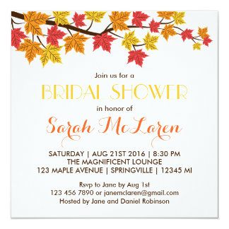 Fall Maple Leaves Autumn Bridal Shower Invitation Personalized Invite