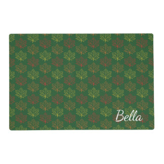Fall Maple Leaves Green Mustard Name Template Placemat