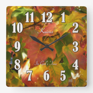Fall Maple Leaves In God's Time Square Clock