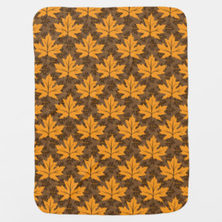 Fall maple leaves in orange & brown autumn colors stroller blanket