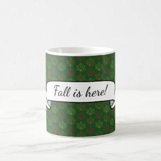 Fall Maple Leaves Pattern Green Art Text Template Coffee Mug