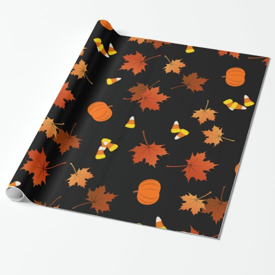 Fall maple leaves pumpkins candy corn pattern wrapping paper
