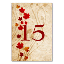 Fall maple leaves, rustic wedding table numbers