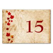Fall maple leaves, rustic wedding table numbers card