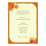 """Fall Maple Leaves Thanksgiving Party Invitation 5"""" X 7"""" Invitation Card"""