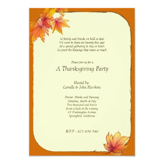 Fall Maple Leaves Thanksgiving Party Invitation