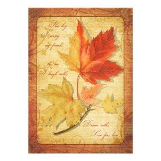 Fall Maple Leaves Wedding Invitation