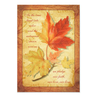 Fall Maple Leaves Wedding Invitation Ver Three