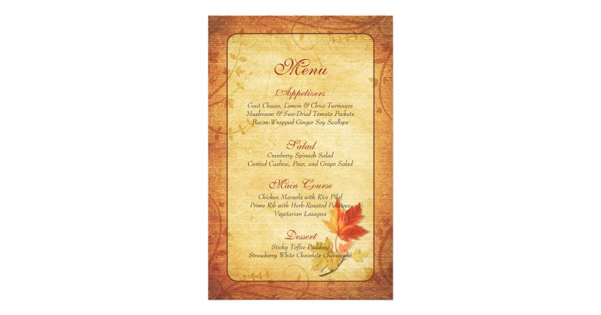 Fall Maple Leaves Wedding Menu Card | Zazzle.com