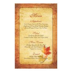 Fall Maple Leaves Wedding Menu Card Custom Flyer