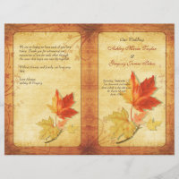 Fall Maple Leaves Wedding Program