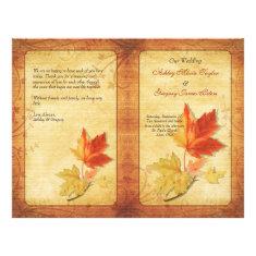 Fall Maple Leaves Wedding Program Flyers