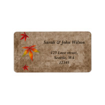 fall maple  leaves wedding ,return address label