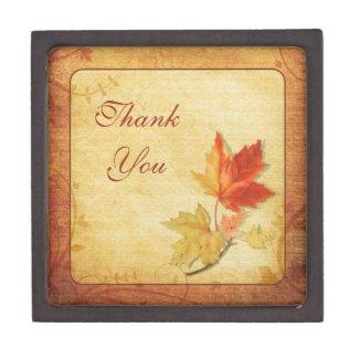 Fall Maple Leaves Thank You Gift Box Premium Trinket Box