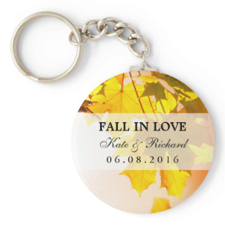 Fall Maple Leaves Wedding Thank You Gift Keychain