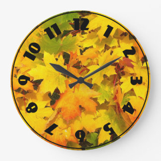Fall Maple Leaves with Autumn Colors Large Clock