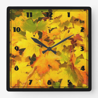 Fall Maple Leaves with Autumn Colors Square Wall Clock