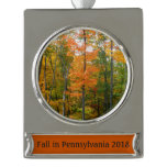 Fall Maple Trees Autumn Nature Photography Silver Plated Banner Ornament