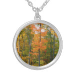 Fall Maple Trees Autumn Nature Photography Silver Plated Necklace