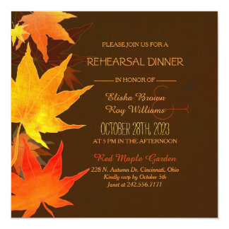 Fall Maple Wedding Rehearsal Dinner Card