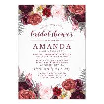 Fall Marsala Blush Peony Bridal Shower Invitations