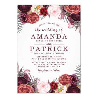 Fall Marsala Blush Peony Wedding Invitations