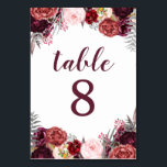 """Fall Marsala Peony Wedding Table Number Cards<br><div class=""""desc"""">Fall Marsala Peony Wedding Table Number Cards - design features a white background with various peonies, roses, and other floral elements in shades of Marsala, burgundy, blush pink, gray and more. View the full matching collection link found on this page to complete the look for your event. You&#39;ll see a...</div>"""