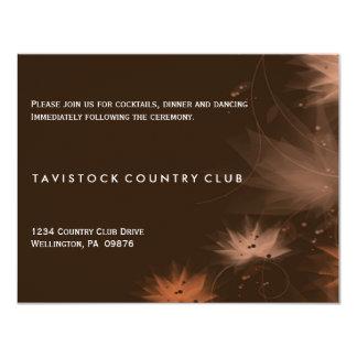 Fall Minimalist Floral Wedding Reception Card