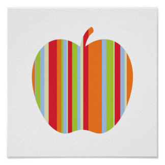 Fall Modern Apple with Red & Orange Stripes Poster